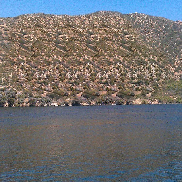 Stereogram by 3Dimka: @_deleon13. Tags: horse head mountain lake, hidden 3D picture (SIRDS)