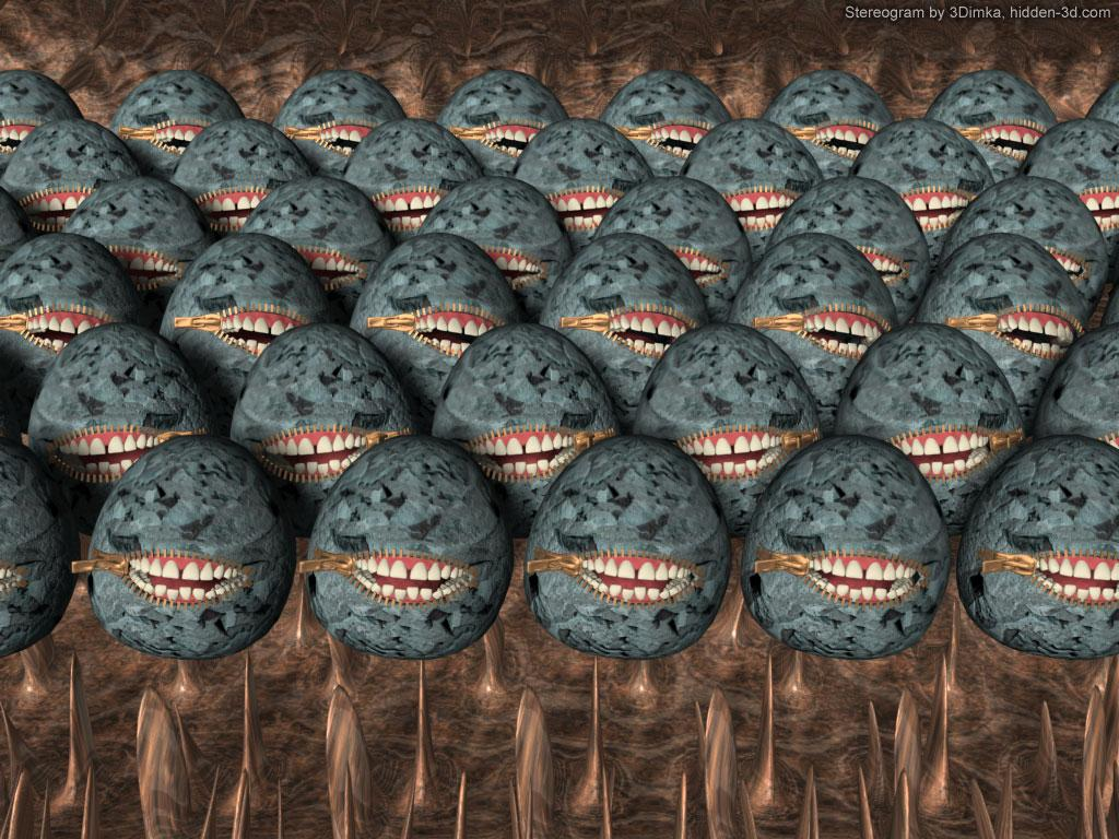 Stereogram by 3Dimka: Freedom of speach (Cross-eyed). Tags: stones, zipper, crosseyed, eggs, teeth, oas, hidden 3D picture (SIRDS)
