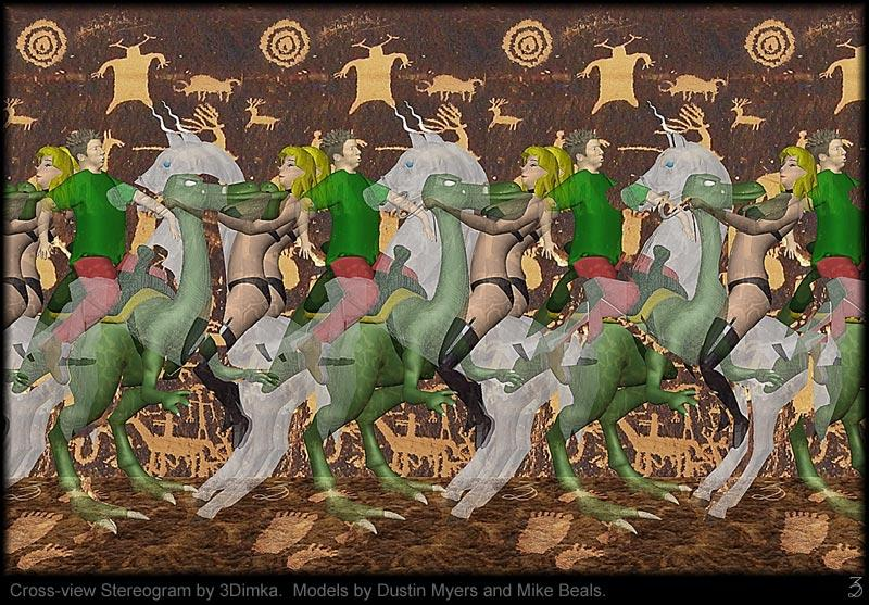 Stereogram by 3Dimka: Dustin and Dominiqu (Cross-eyed). Tags: unicorn, girl, dinopet, horse, crosseyed, hidden 3D picture (SIRDS)