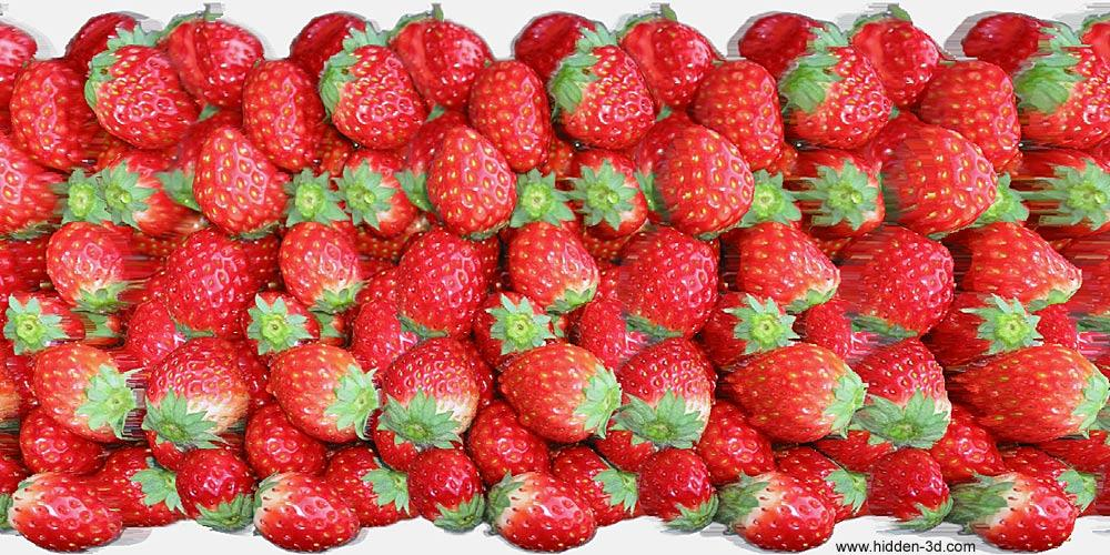 Stereogram by 3Dimka: Strawberry (Cross-eyed). Tags: crosseyed, hidden 3D picture (SIRDS)
