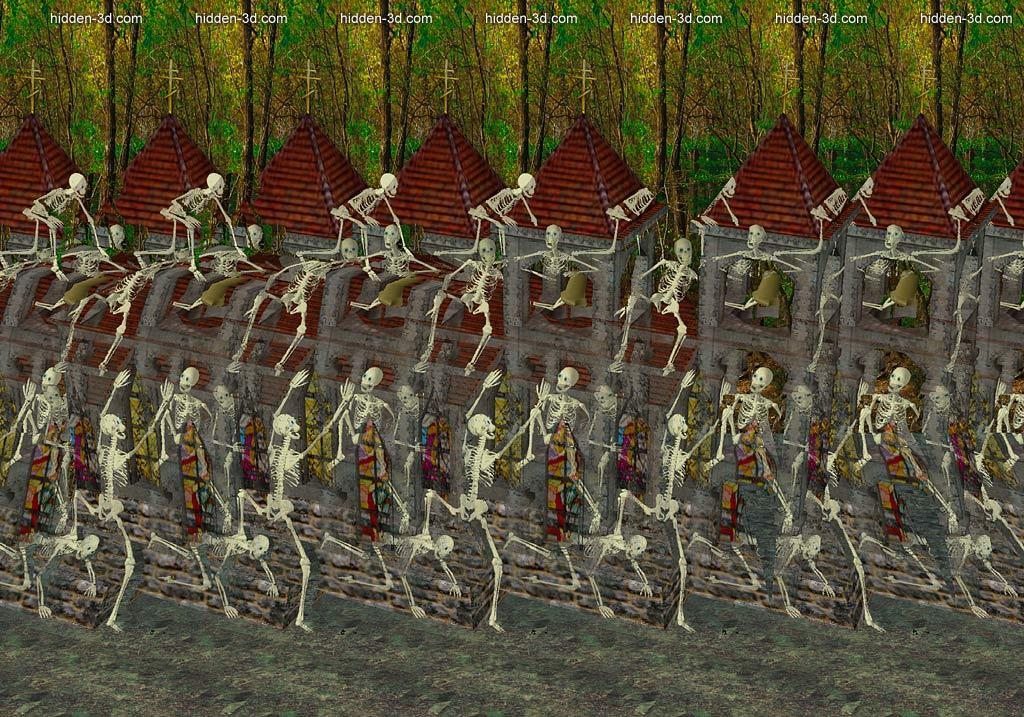 Stereogram by 3Dimka: Skeletons (Cross-eyed). Tags: crosseyed, church, horror, dark, hidden 3D picture (SIRDS)