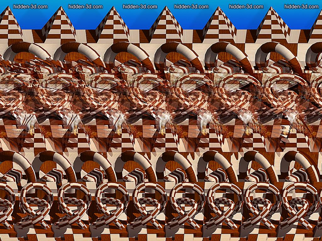 Stereogram by 3Dimka: Flying low. Tags: eagle, abstract, figures, flight, 3Dimka portfolio, hidden 3D picture (SIRDS)