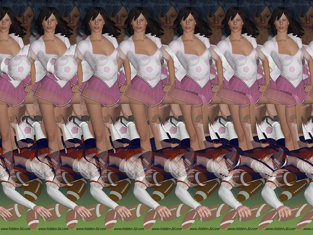 Stereogram by 3Dimka: Football. Tags: soccer, football, sport, girl, hidden 3D picture (SIRDS)