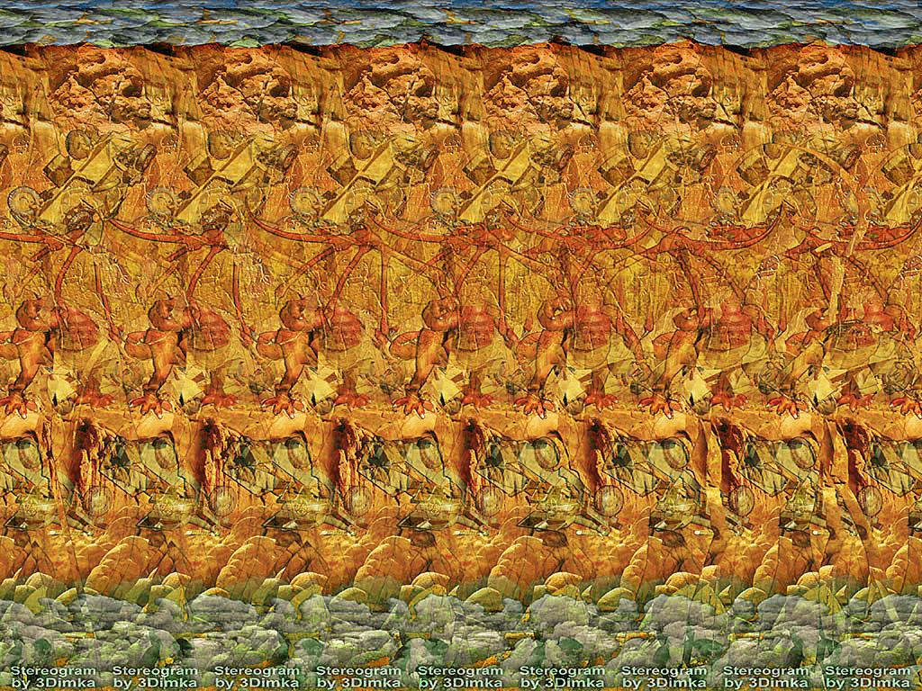 Stereogram by : Don't mess with Dragon. Tags: dragon, cars, rocks, jeep, fantasy, hidden 3D picture (SIRDS)