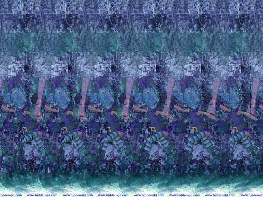 Stereogram by 3Dimka: Message from Santa. Tags: elf, cristmas, moon, hidden 3D picture (SIRDS)