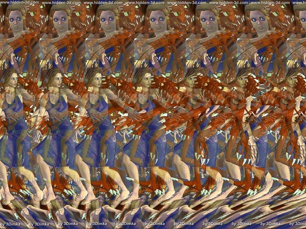 Stereogram by 3Dimka: Honney, it's me!. Tags: monster, girl, woman, hidden 3D picture (SIRDS)