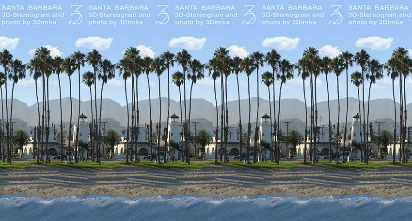 Stereogram by 3Dimka: Santa Barbara. Tags: santa barbara, city, street, beach, palms, trees, lighthouse,cars, hidden 3D picture (SIRDS)