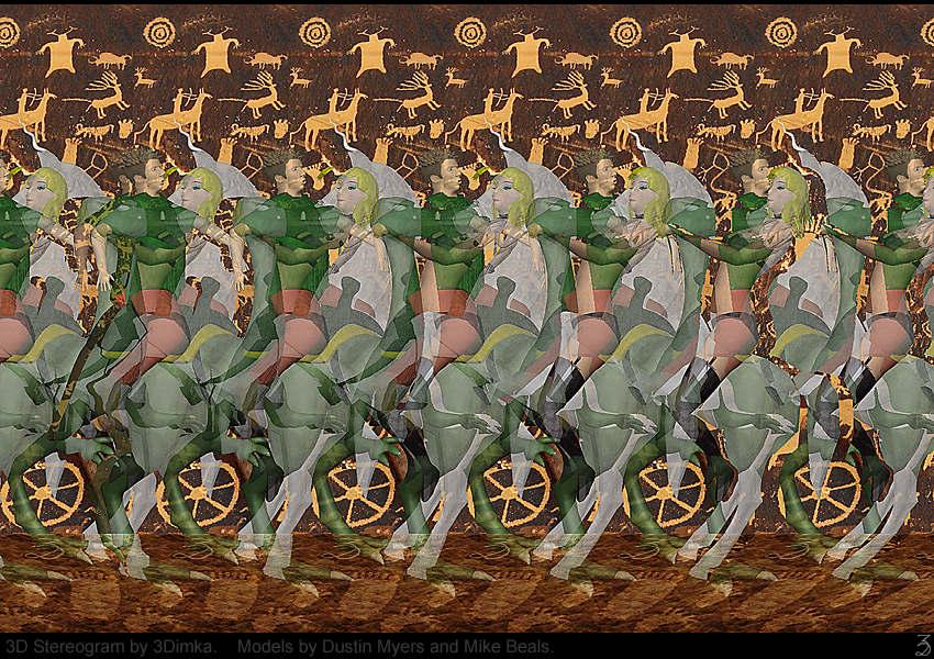 Stereogram by 3Dimka: Dustin and Domenique. Tags: fantasy, dinopet,horse, 3Dimka portfolio, hidden 3D picture (SIRDS)