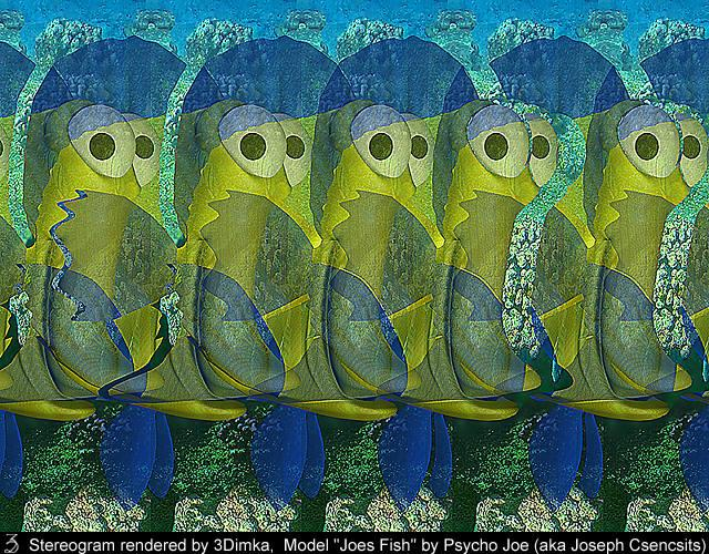Stereogram by 3Dimka: Joe Fish. Tags: fish,ocean,sea, hidden 3D picture (SIRDS)