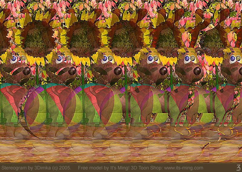 Stereogram by 3Dimka: Xmas dreams. Tags: dog, ball, sunflower, xmas, christmas, deer, hidden 3D picture (SIRDS)