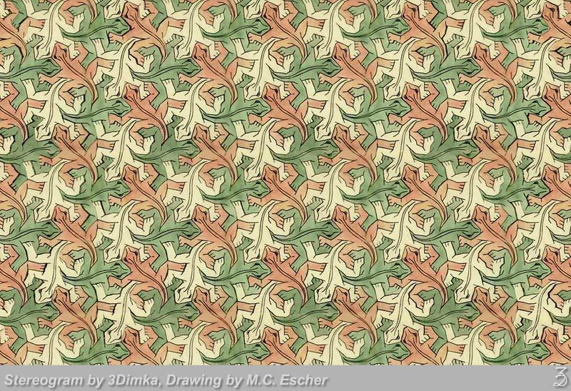Stereogram by 3Dimka: Escher's lizards. Tags: lizzard,escher,abstract,tile, hidden 3D picture (SIRDS)