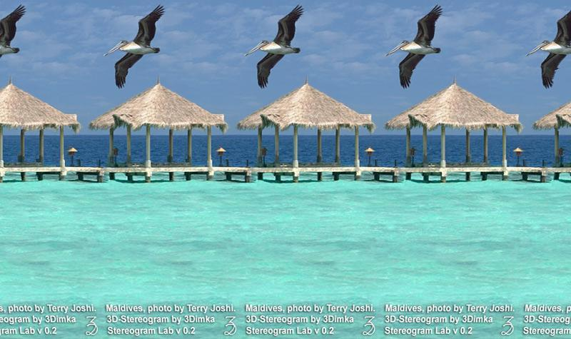 Stereogram by 3Dimka: Maldives. Tags: maldives,pelicans,beach,tropics, hidden 3D picture (SIRDS)