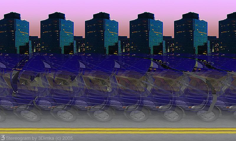 Stereogram by 3Dimka: Lumina. Tags: car, shevy lumina,minivan,city, new yourk, nyc, street, road, hidden 3D picture (SIRDS)