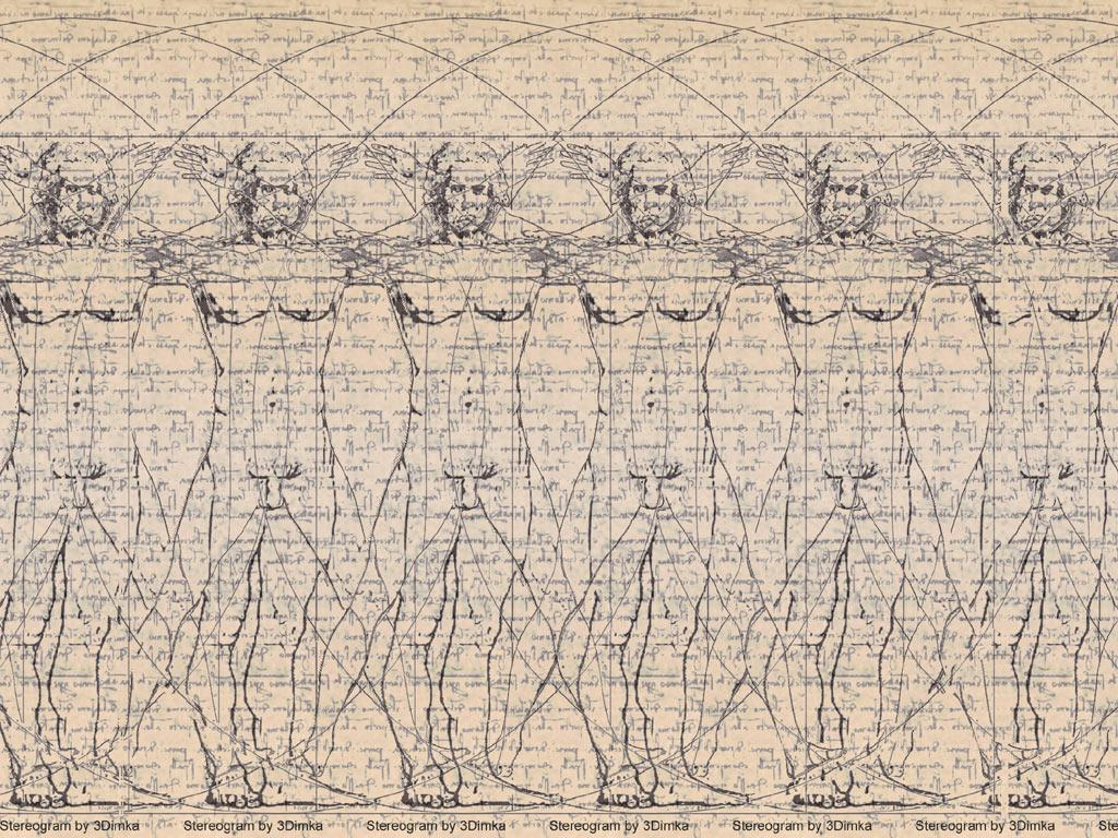 Stereogram by 3Dimka: Vitruvian Man. Tags: leonardo da vinci, guy, contour, art, antique, old, drawings,naked, nude, hidden 3D picture (SIRDS)