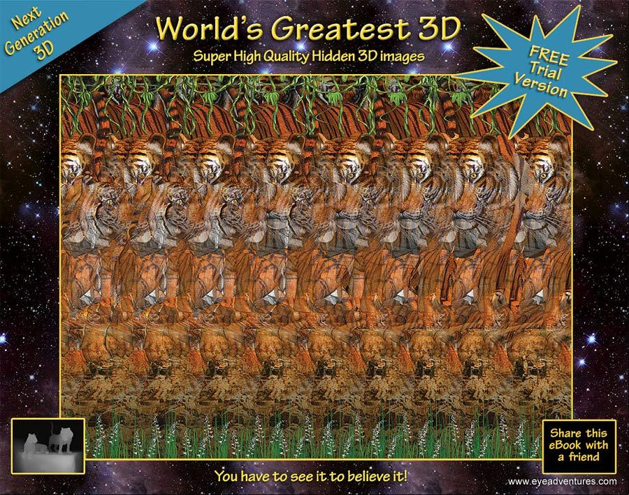 Stereogram by 3Dimka: Free EyeAdventures eBook. Tags: tigers, jungles, flowers, cats, hidden 3D picture (SIRDS)