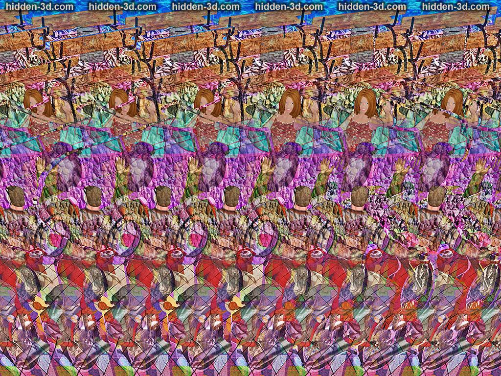 Stereogram by 3Dimka: Welcome back, soldier. Tags: soldier, girl, car, motorbike, hidden 3D picture (SIRDS)