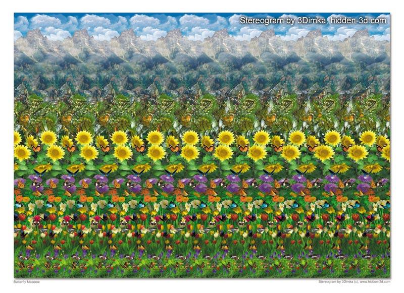 Stereogram by 3Dimka: Buterfly Meadow. Tags: flower, deer, mountain, cloud, butterflies, hidden 3D picture (SIRDS)