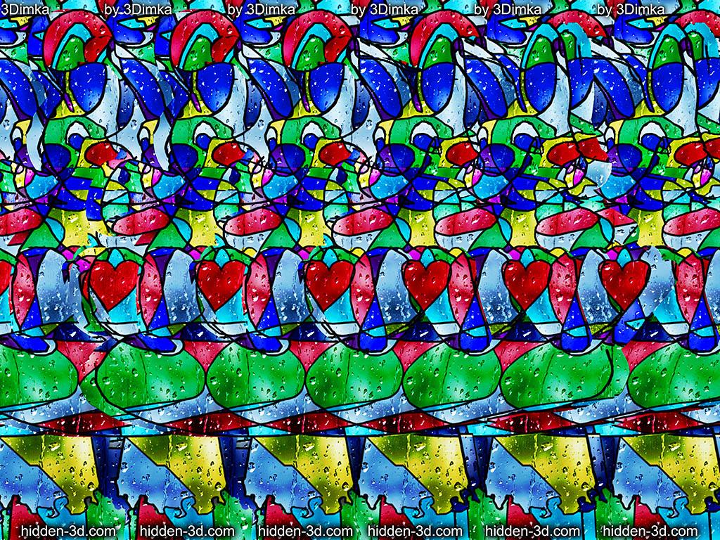 Stereogram by 3Dimka: Toys. Tags: stained glass bunny bear teddy, hidden 3D picture (SIRDS)