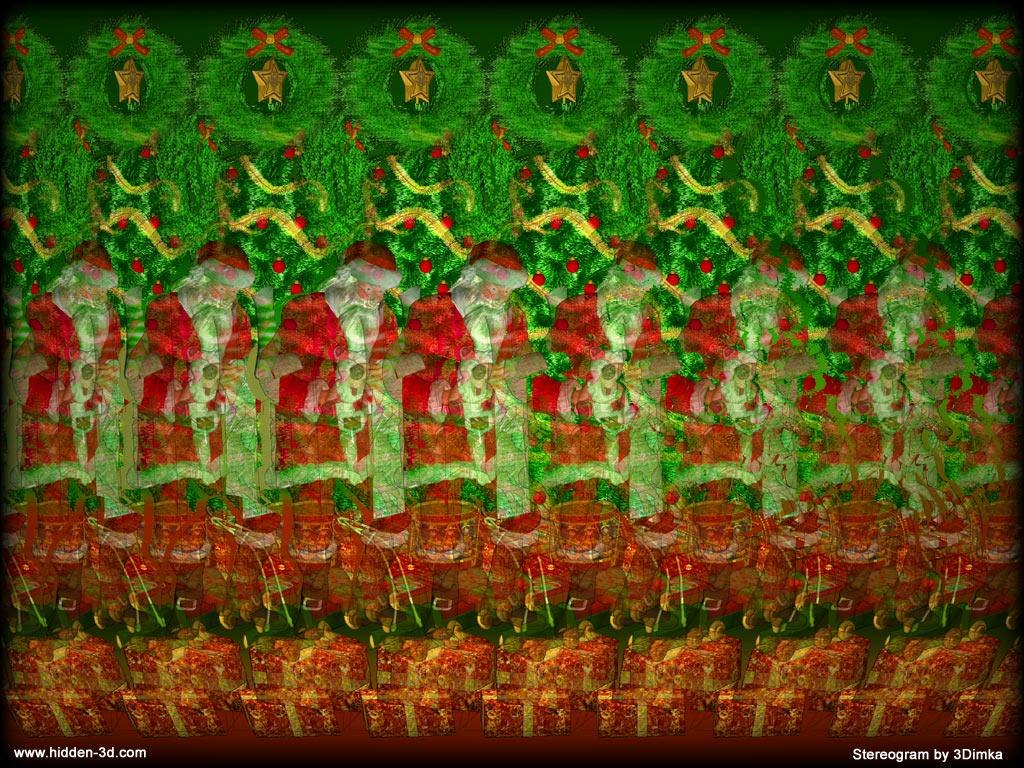 Stereogram by 3Dimka: Naughty or Nice?. Tags: xmas, christmas, santa, claus, presents, hidden 3D picture (SIRDS)