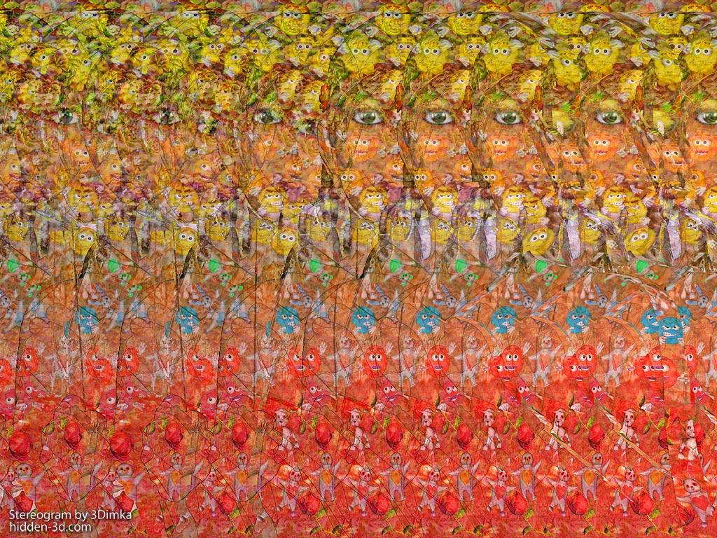 Stereogram by 3Dimka: Summer is coming. Tags: girl, ice cream, balloon, hidden 3D picture (SIRDS)
