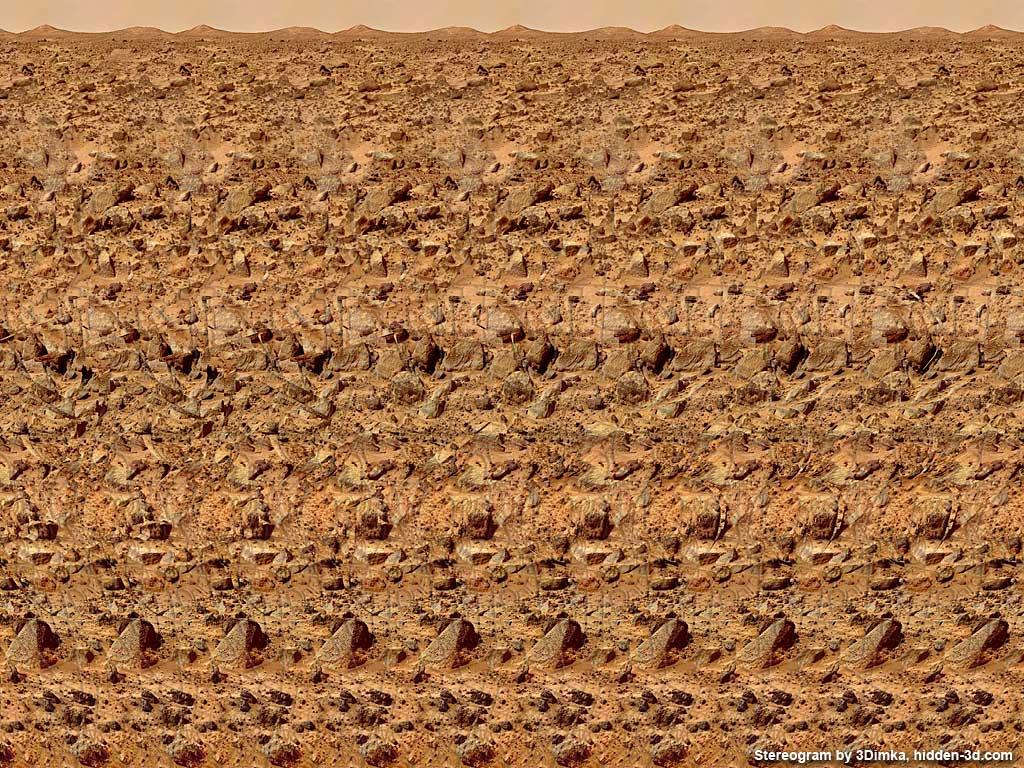 Stereogram by 3Dimka: Red planet. Tags: mars, rover, space, curiosity, surface, rocks, robot, science, planet, hidden 3D picture (SIRDS)