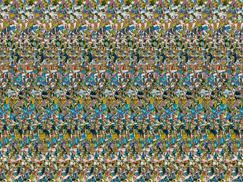 Stereogram by 3Dimka: Dual hidden sign. Tags: peace, hidden 3D picture (SIRDS)