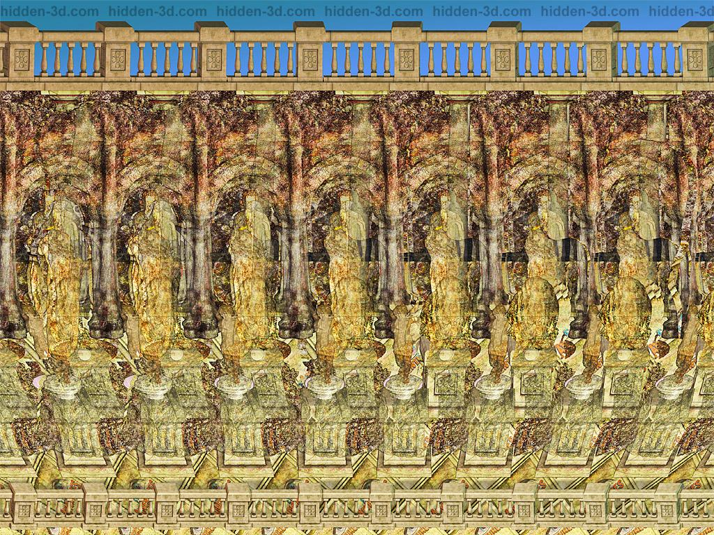 Stereogram by 3Dimka: Exhibit. Tags: art gallery museum sculptures anubis moai greek ancient history  , hidden 3D picture (SIRDS)