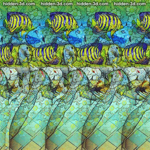 Stereogram by 3Dimka: Behind the glass. Tags: cat fish tank fishtank aquarium, hidden 3D picture (SIRDS)