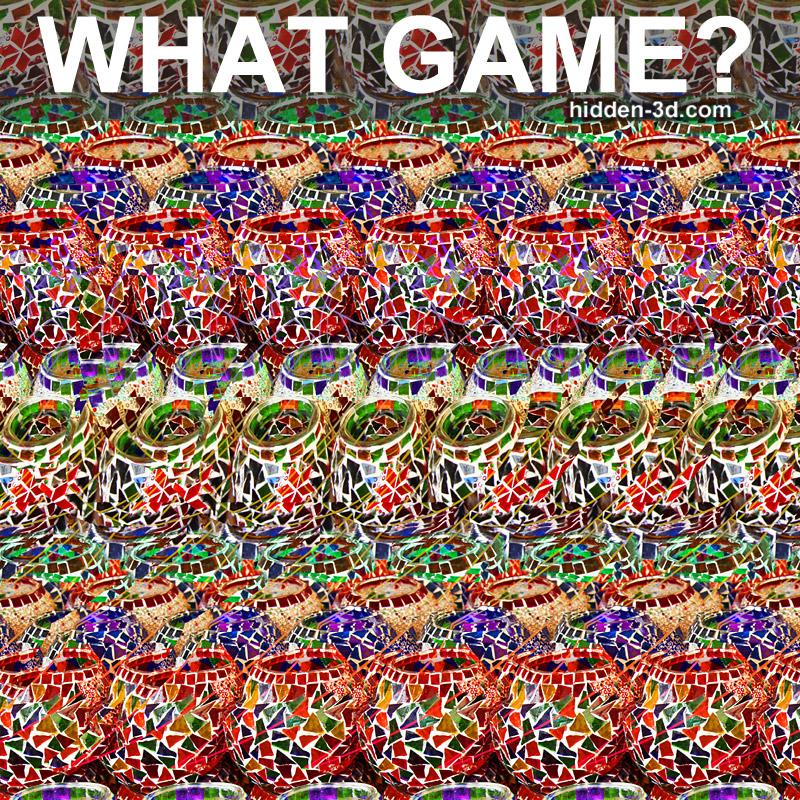 Stereogram by 3Dimka: Guess the Video Game. Tags: fruit ninja game sword apple, hidden 3D picture (SIRDS)