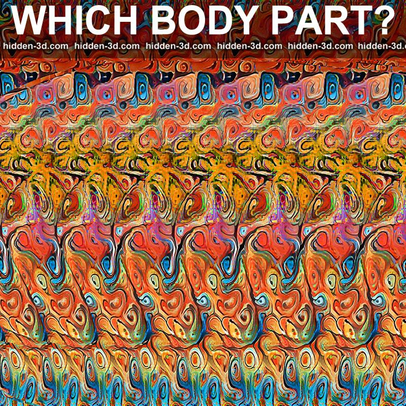 Stereogram by 3Dimka: Guess the part of body. Tags: ear human puzzle, hidden 3D picture (SIRDS)