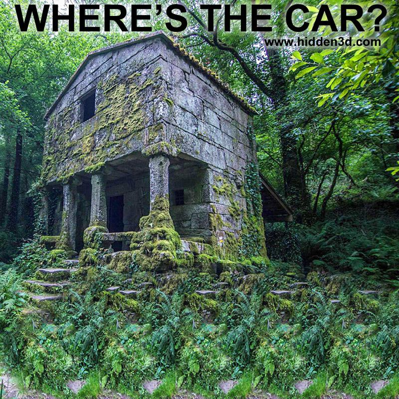 Stereogram by 3Dimka: Find the Car. Tags: forest ruins car beetle abandoned jungle, hidden 3D picture (SIRDS)