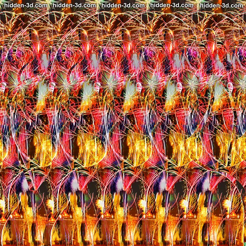 Stereogram by 3Dimka: Happy New Year 2019. Tags: girl pig glasses pigtails snout boobs fireworks, hidden 3D picture (SIRDS)