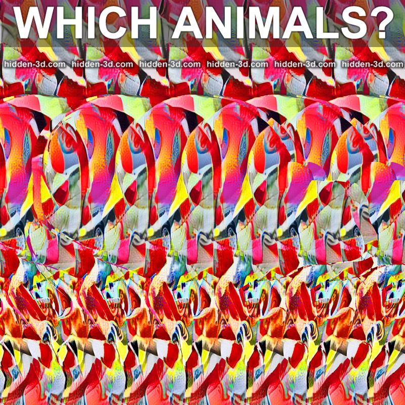 Stereogram by 3Dimka: How many and which animals?. Tags: snail frog, hidden 3D picture (SIRDS)